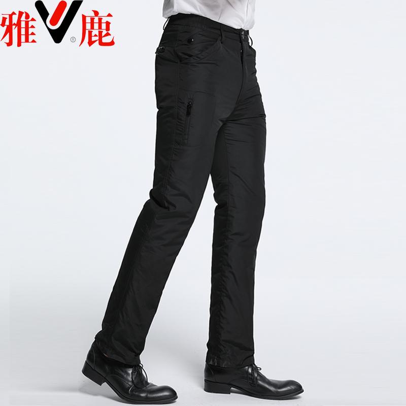 雅鹿男款外穿高腰加厚可脱卸羽绒裤