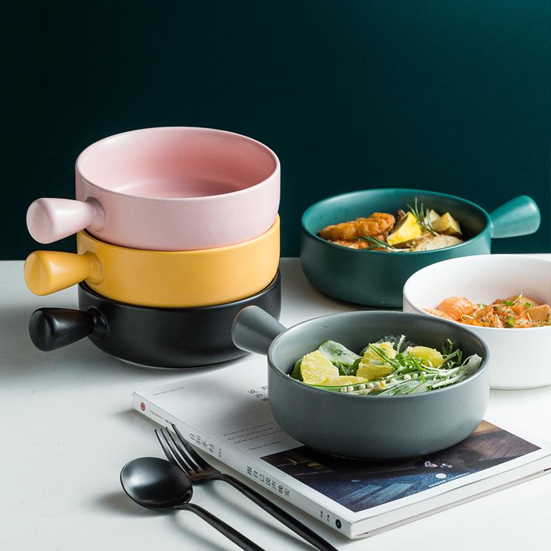 北欧烘培盘创意早餐�h饭盘水果沙拉盘家用带手柄烤箱专用陶瓷盘子