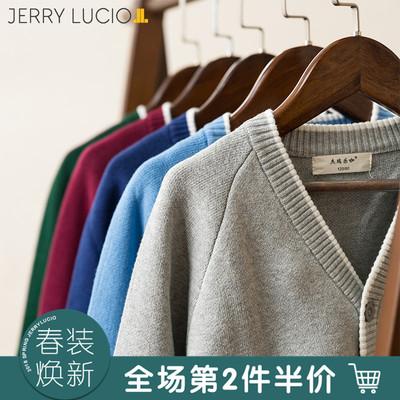 杰瑞乐咖2018春季新款男童针织开衫纯棉儿童针织衫外套男中大童 拍下54元包邮
