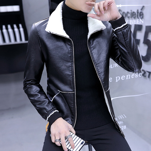 Men's jacket autumn and winter new Korean Slim clothes youth casual trend leather jacket men's plus velvet thickening