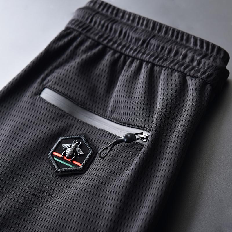 夏季冰丝男士运动休闲裤薄款速干长裤宽松空调裤九分网眼超薄弹力
