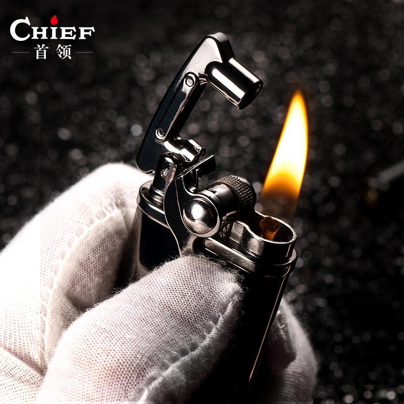 首领煤油打火机创意摇臂男士复古老式怀旧国产砂轮个性火机刻字潮