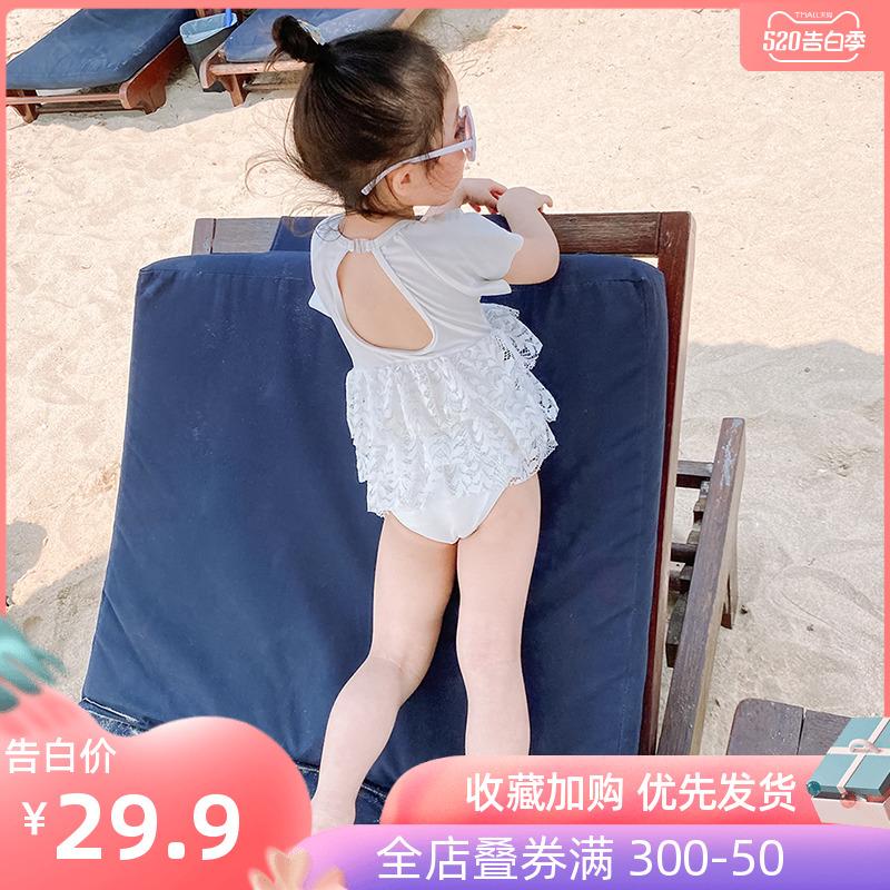 儿童泳衣女童小女孩可爱裙式游泳衣宝宝婴儿连体小童公主比基尼