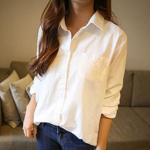 白色衬衫女长袖 2018新款棉