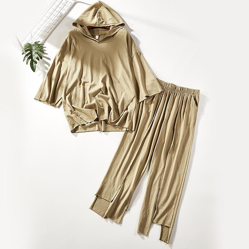2018秋季新款时尚套装连帽T恤+拼接休闲裤两件套0842