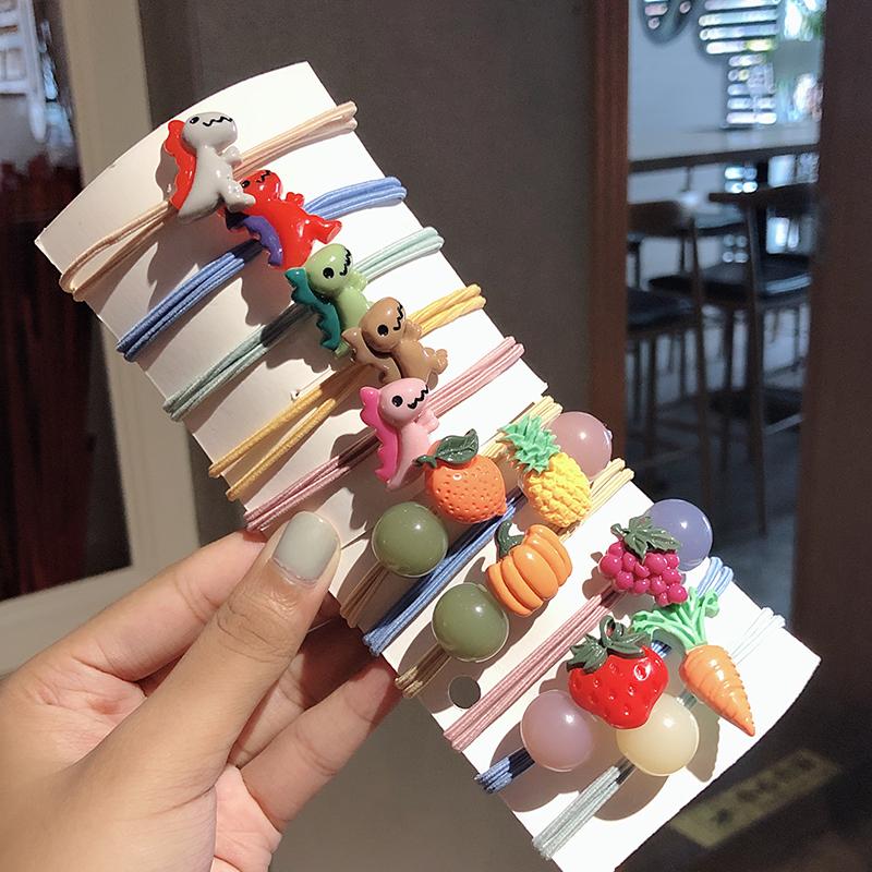 韩国皮筋女扎头 网红头绳韩版可爱简约皮套小恐龙ins少女发绳头饰满4元减3元