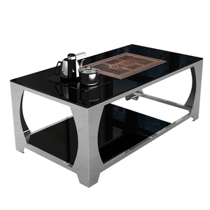 Tea Table Kung Fu Coffee Table Tempered Glass Modern Stainless Steel Creative Coffee Table Tea Table Office Furniture