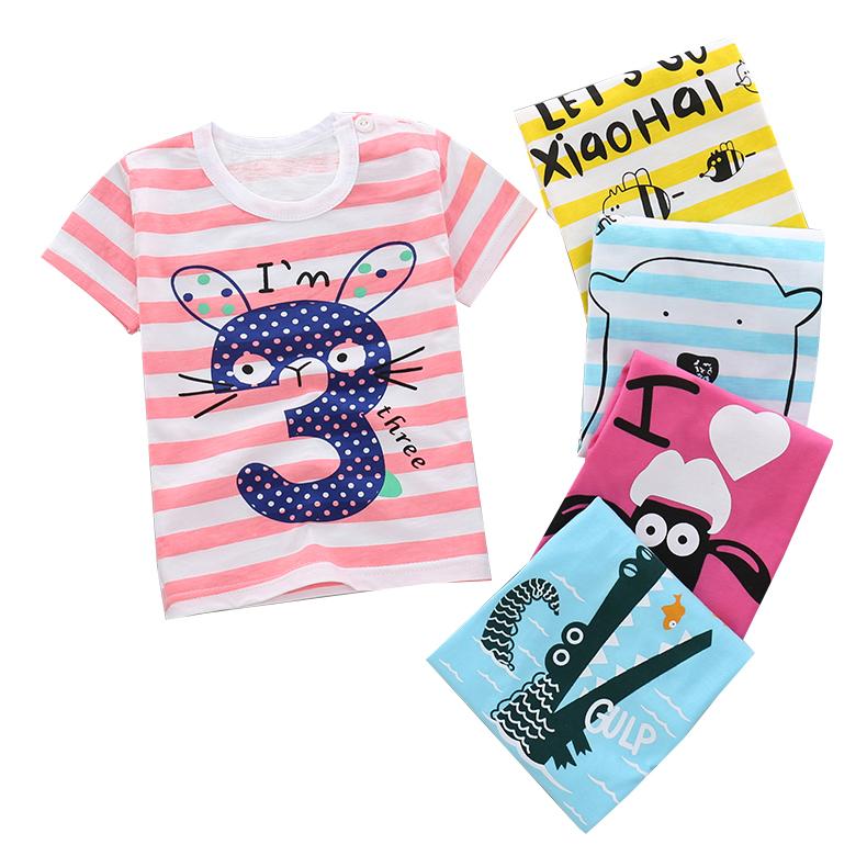夏季新款童装男童女童短袖T恤纯棉宝宝儿童半袖女童体恤圆领白色