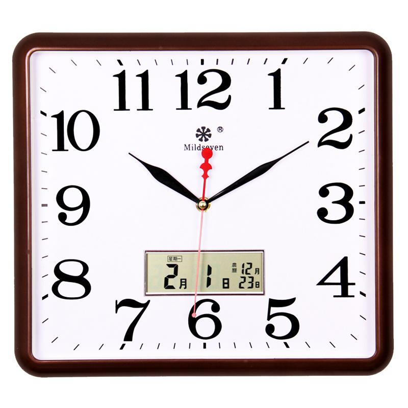 方形电子挂钟客厅静音钟表家用个性创意时尚艺术万年日历石英钟大