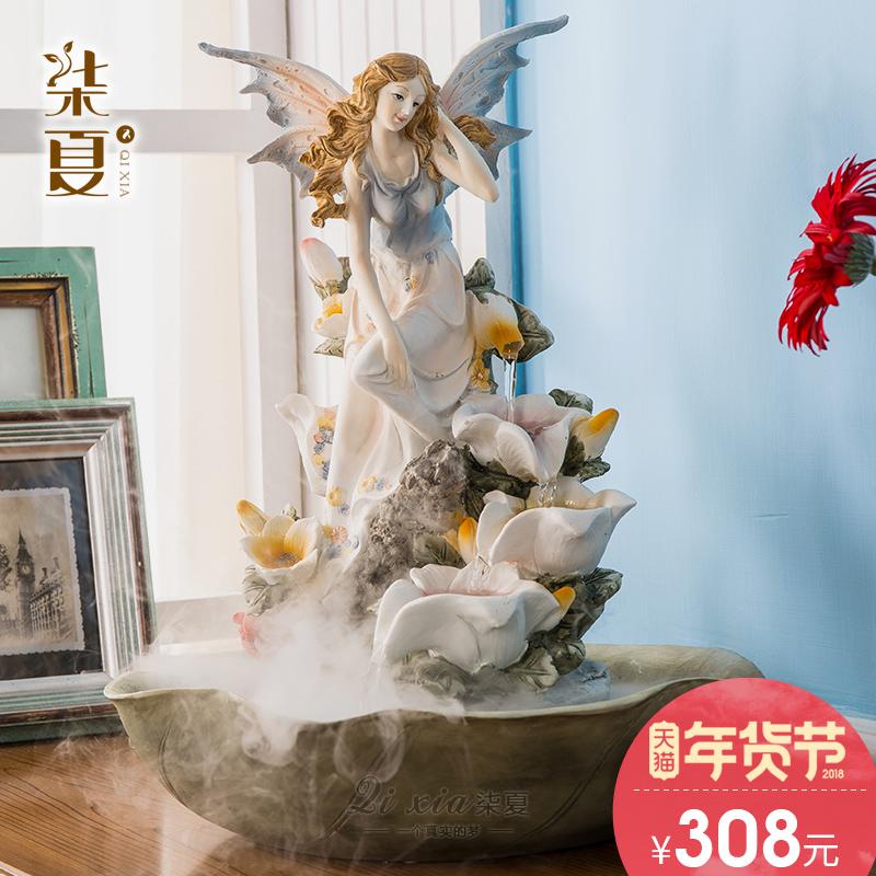 实用结婚礼物创意欧式电视柜客厅装饰品流水喷泉摆件乔迁新居礼品