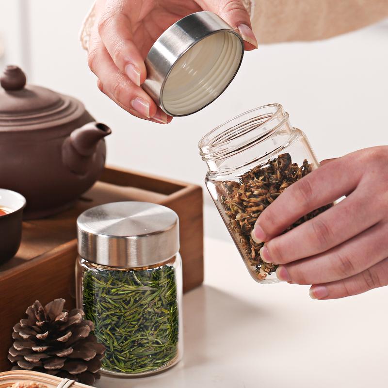 茶叶罐便携式旅行随身迷你小号玻璃瓶密封罐家用透明带盖玻璃茶罐