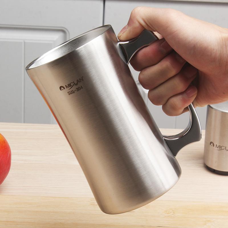 麦朗304不锈钢抽真空水杯 啤酒杯饮料杯牛奶咖啡杯 时尚创意口杯