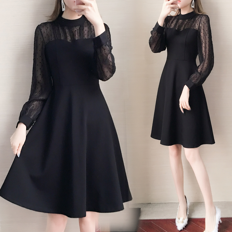 大码女装2019早秋新款胖妹妹法式气质显瘦连衣裙雪纺灯笼袖小黑裙