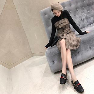 韩版高腰格纹港味chic复古格子假两件套 半高领长袖女抹胸连衣裙