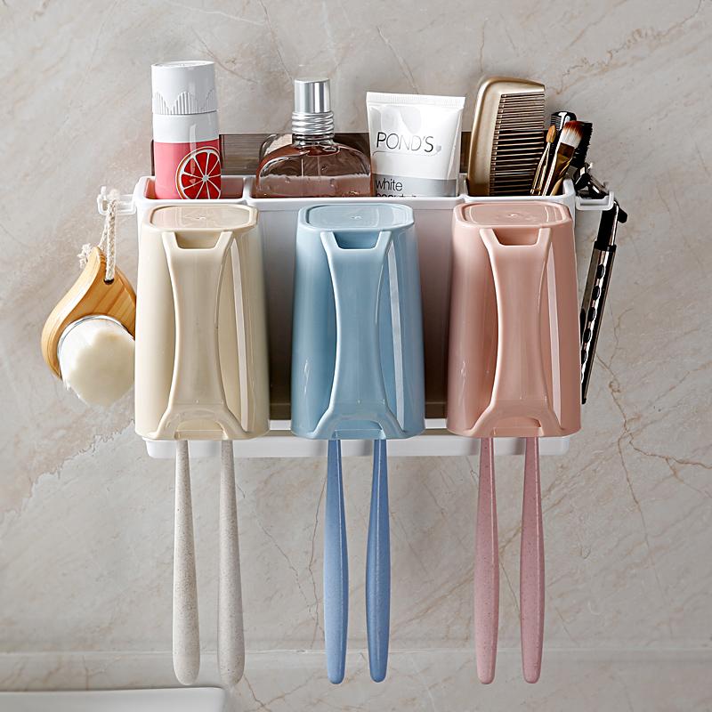 牙刷置物架牙具洗漱套装吸盘牙刷架壁挂漱口杯吸壁刷牙杯挂牙刷架