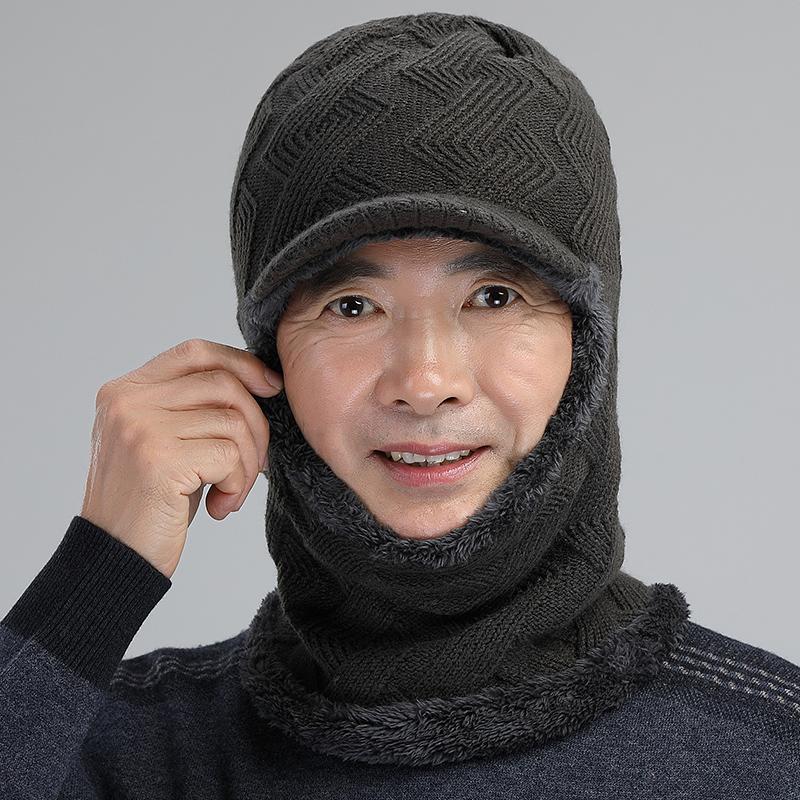 ������Ʒ:中老年人护耳帽子男冬天加厚毛线帽围脖一体骑行帽护颈防寒连体帽