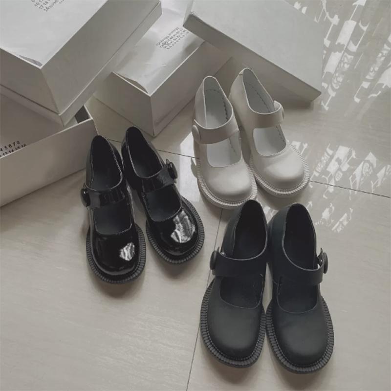 mona同款复古玛丽珍大头鞋高跟圆头mm6俏皮娃…