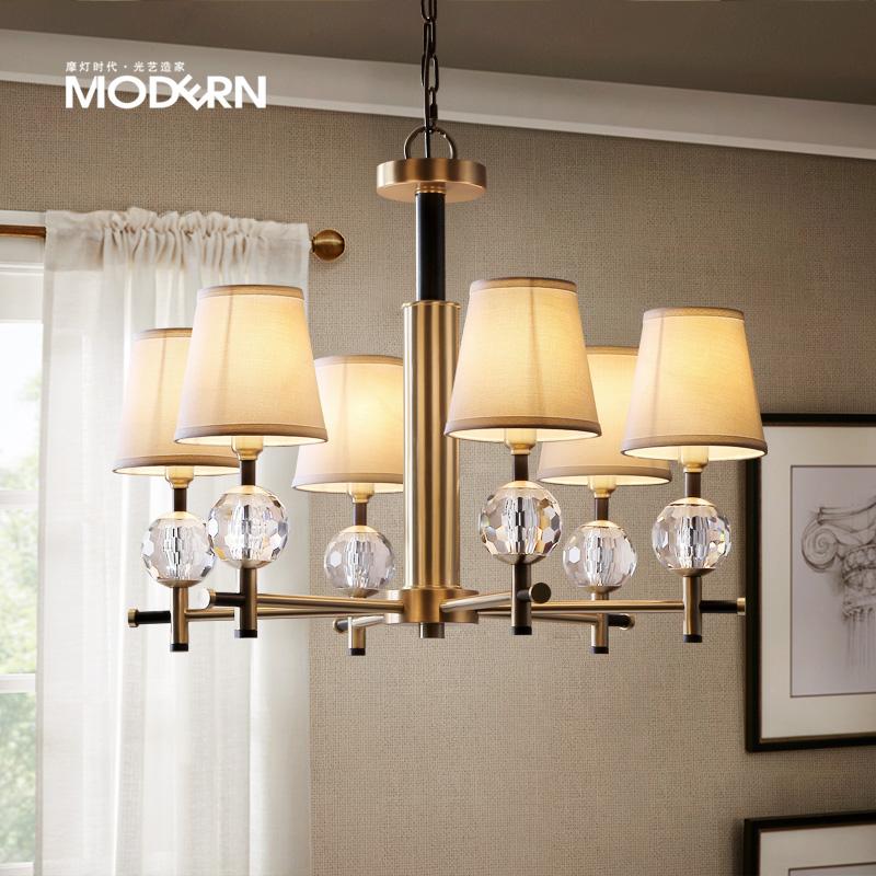摩灯时代 美式水晶吊灯 简约客厅餐厅卧室创意设计师全铜个性灯具-摩灯时代全铜灯饰