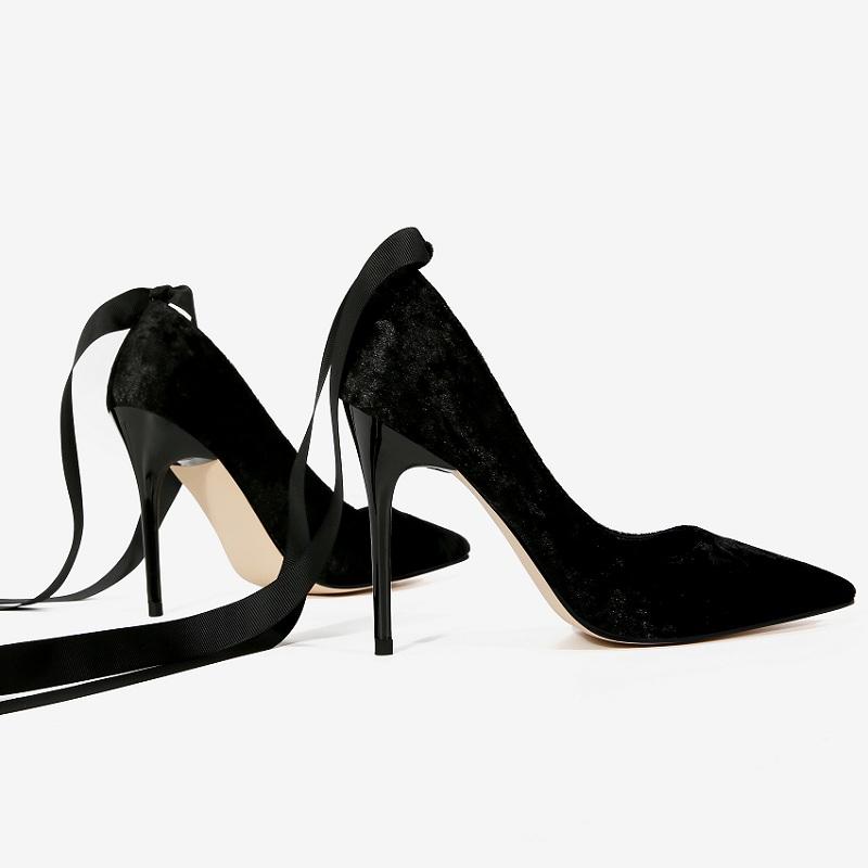 2018春季新款超高跟女鞋天鹅绒细跟 尖头浅口绑带