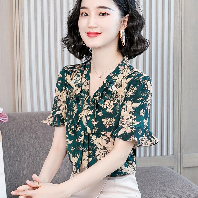 实拍 2020夏季新款收腰女人遮肚妈妈洋气小衫-韩资秀-