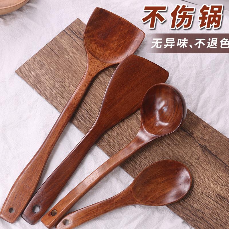 木铲子不粘锅专用炒菜木锅铲耐高温长柄实木炒菜木铲汤勺大木勺子