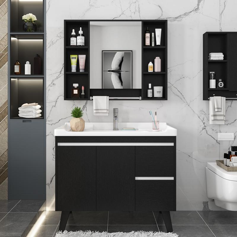 实木浴室柜洗手盆落地式洗脸盆柜组合洗手台盆一体卫生间洗漱台池