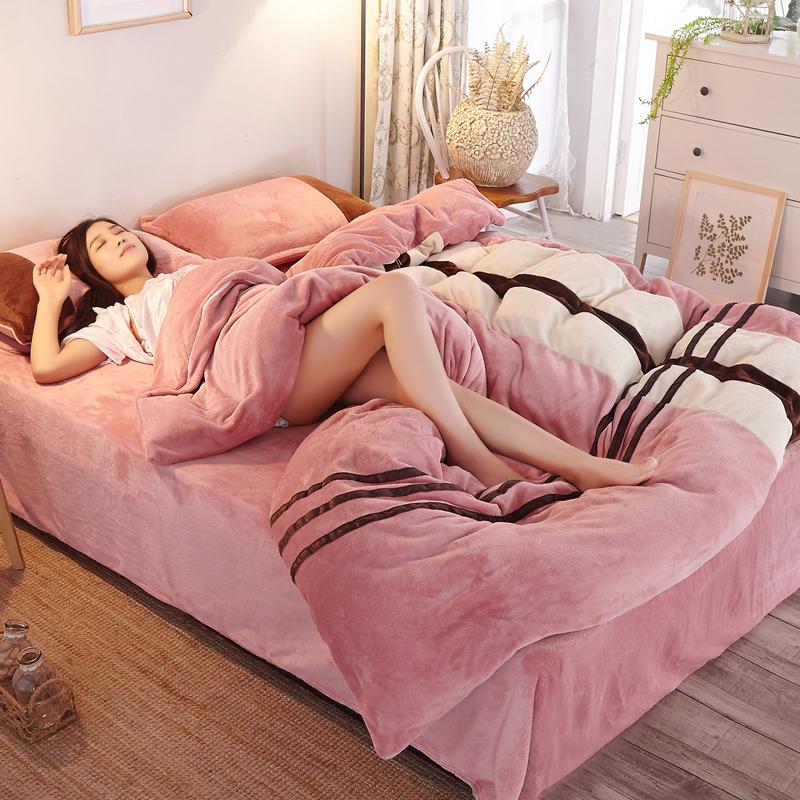 韩版法莱保暖加厚珊瑚绒双面法兰绒床笠床单被四件套1.8m1.5米床-蝶梦思旗舰店