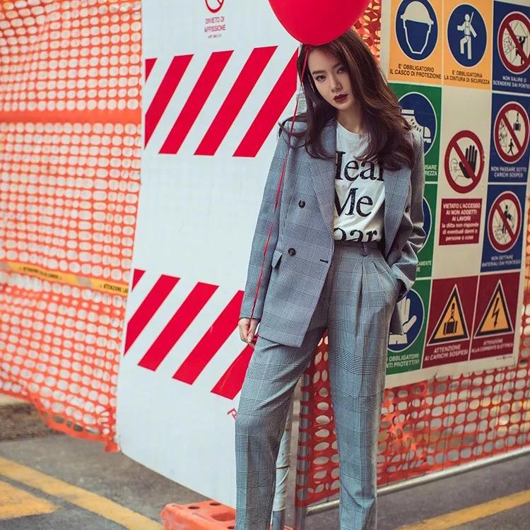 现货910#戚薇古力娜扎同款格子西装套装女韩版英伦复古条纹套装 - 17网