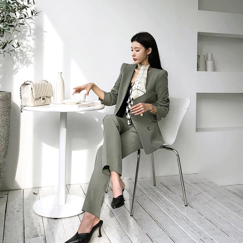大量现货965#2020秋季新款无领设计chic西装套装女韩版设计感西服 -
