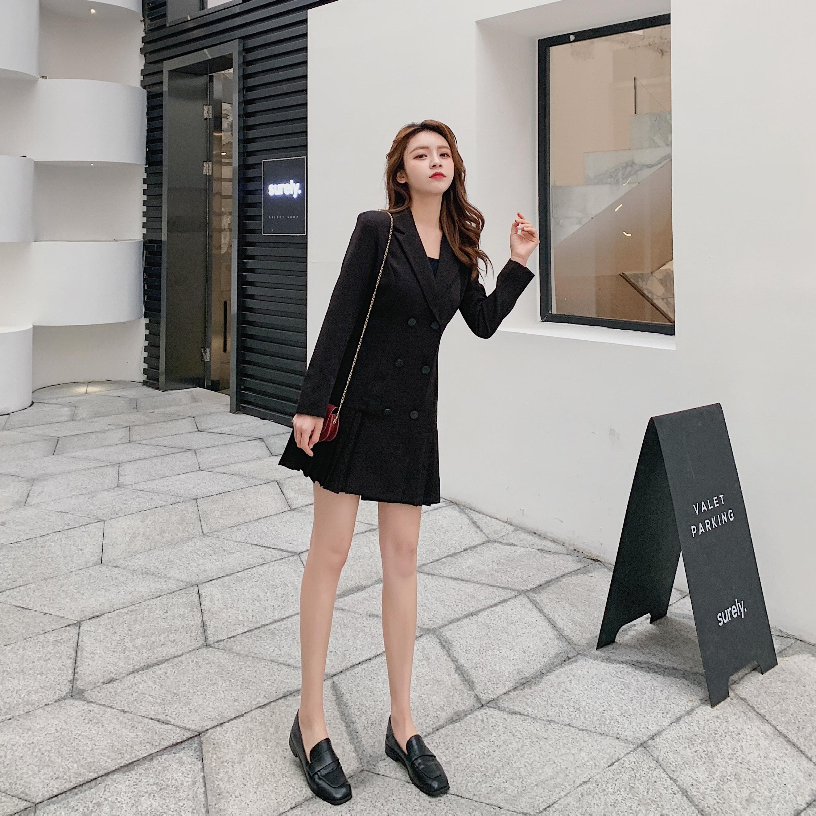 实拍现货939#西装外套女长袖连衣裙2020韩国春秋OL修身时尚百褶裙 -
