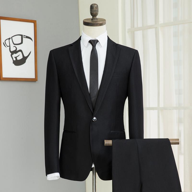 西服套裝男修身西裝男大學生商務上班面試職業裝正裝伴郎團禮服裝