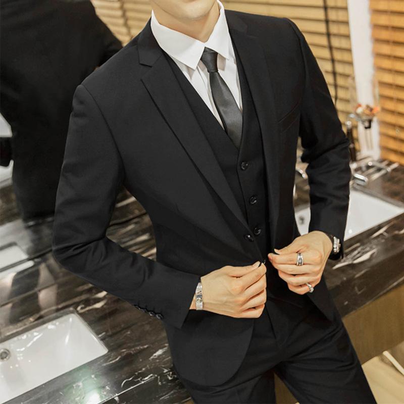 西服套裝男三件套商務正裝職業裝西裝男修身秋季伴郎新郎結婚禮服