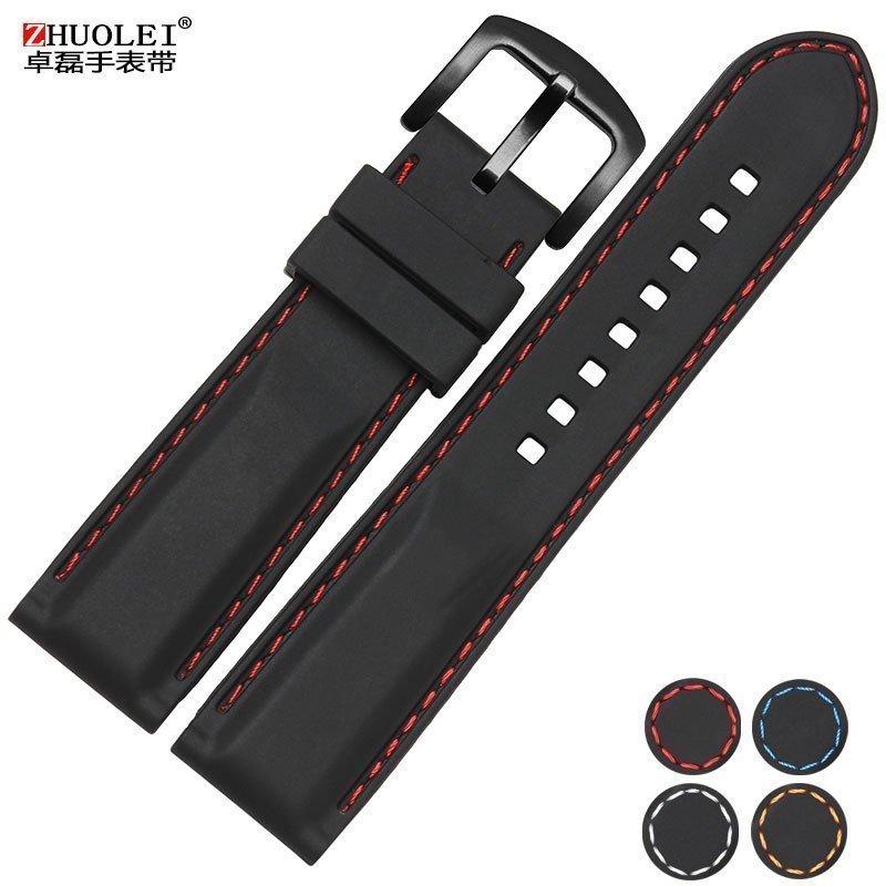 硅胶手表带橡胶带男运动表链24mm22 20黑色防水防汗柔软配件