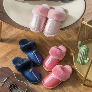 pu leather cotton slippers female autumn and winter indoor household non-slip waterproof warm couple home furry slippers men