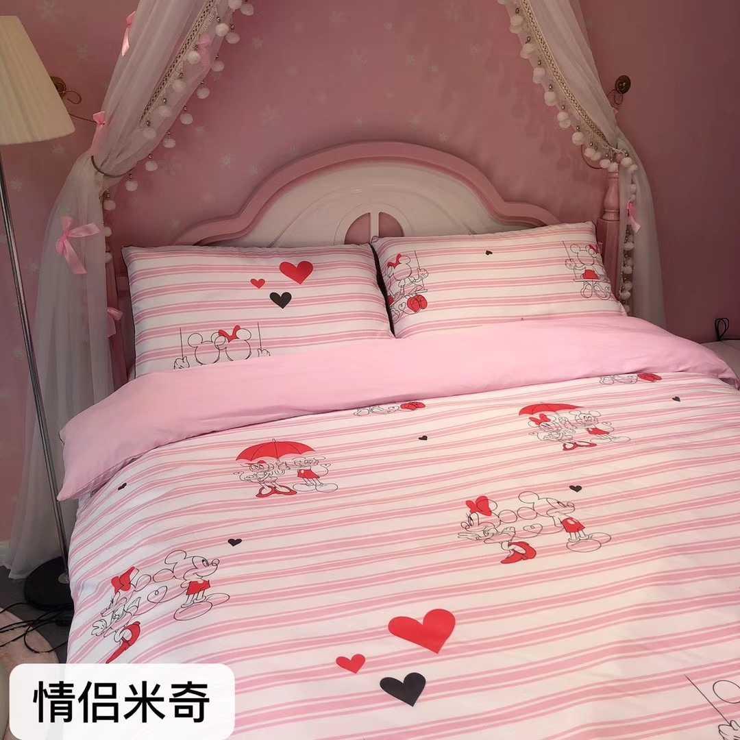 迪士尼天丝四件套丝滑裸睡被套床单春夏清新可爱四套件三件套
