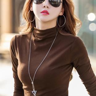 半高领打底衫女百搭长袖t恤2020春秋冬新款内搭加厚纯棉洋气上衣图片