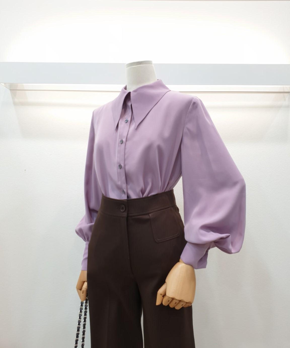 高端2021春秋季韩国打底上衣气质时尚宽松大领褶皱袖丝质缎面衬衫