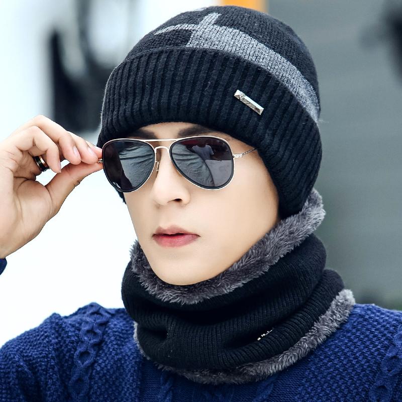 帽子男冬天韩版男士针织加绒加厚毛线秋冬套头百搭男士冬季保暖帽