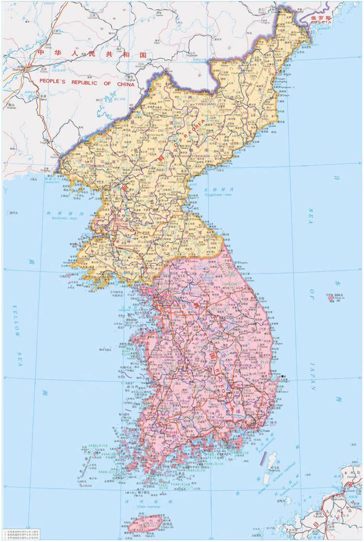 朝鲜半岛地图中文版 旅游公司旅行社外贸公司办公会议室画芯s