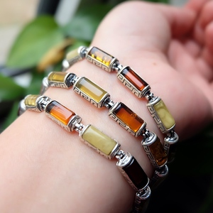* 范 彩 宝石 * Special offer 925 sterling silver with natural beeswax amber beeswax bracelet