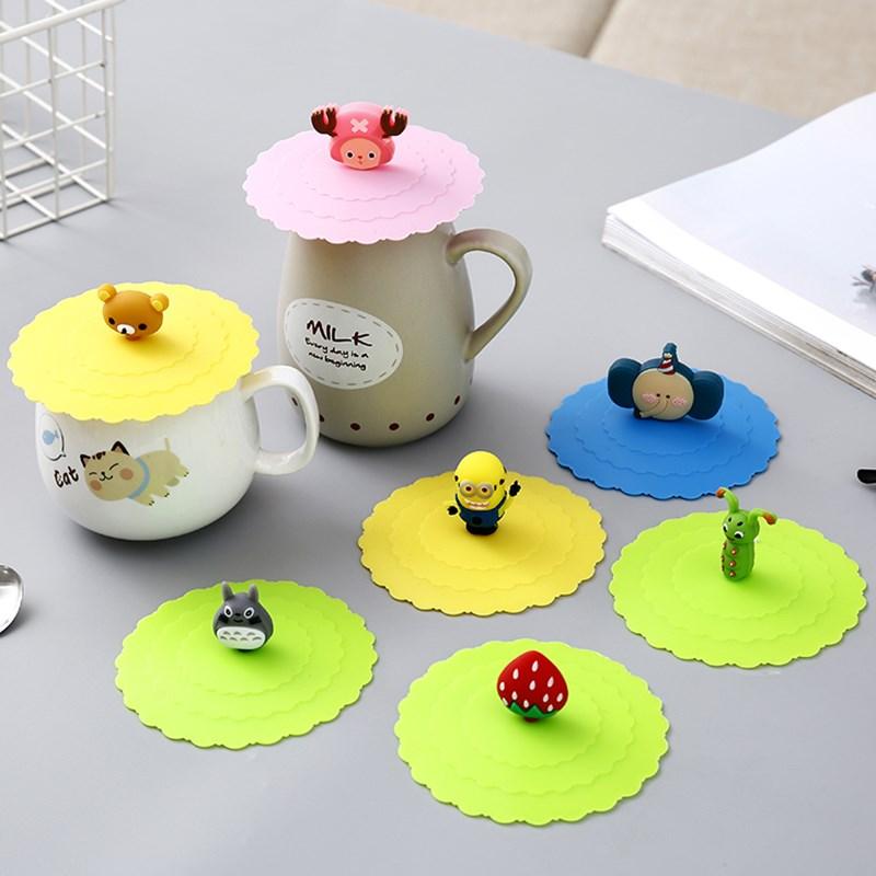 卡通食品级硅胶茶杯杯盖保温杯杯子盖通用密封防尘陶瓷杯水杯盖子