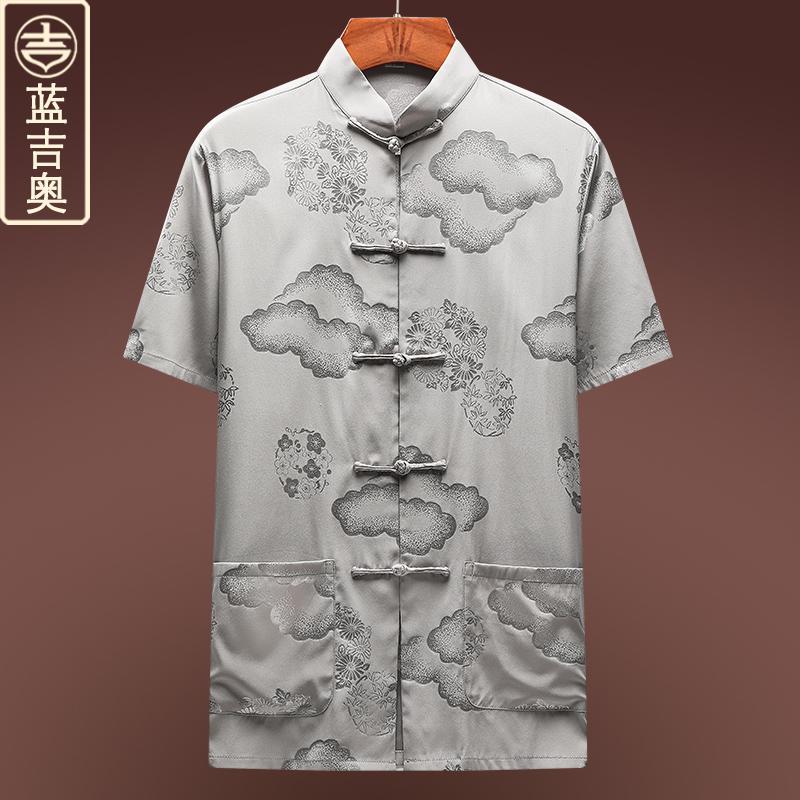 中老年人唐装男夏季短袖真丝桑蚕丝绸套装爷爷中国风男装衬衫上衣