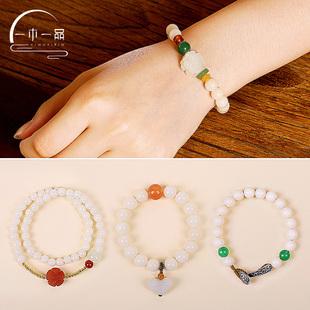 一木一品白玉菩提根手串女圆珠原创设计佛珠天然手链散珠念珠饰品图片