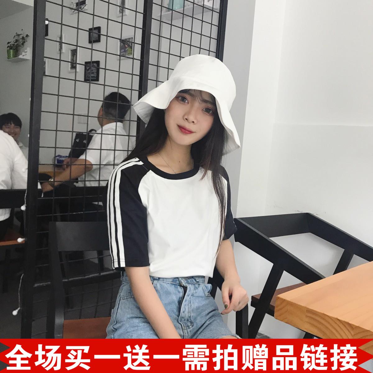 夏装女装韩版原宿风情侣款宽松显瘦短袖T恤中袖条纹袖学生上衣潮
