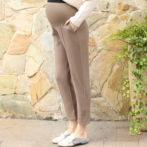 Jie West pregnant women straight solid straight hair woolen belly pants loose pregnant women pants autumn and winter tro