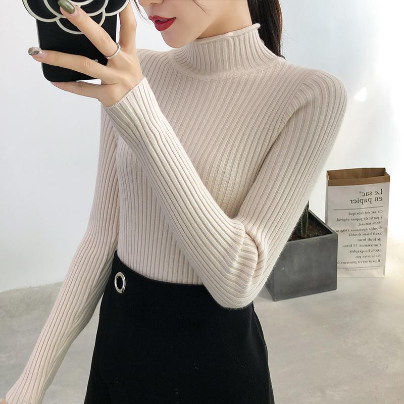 秋冬新款半高领卷边修身内搭针织衫套头毛衣女显瘦纯色加厚打底