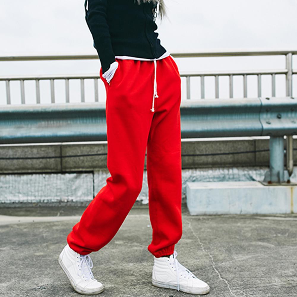 古祖祖 保暖冬季阔腿抽带休闲加绒加厚运动裤长裤宽松大红棉裤
