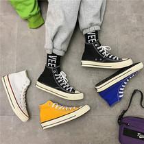 男鞋冬季帆布鞋男高帮加绒潮鞋百搭保暖棉鞋布鞋情侣高邦鞋子板鞋