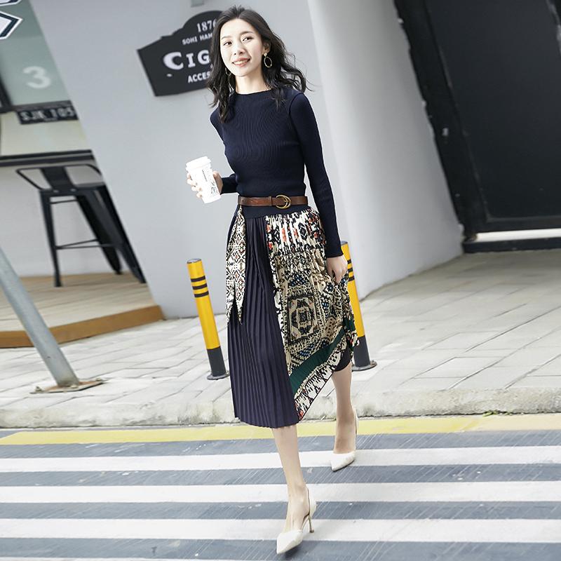 2019新款女装春装法国小众针织连衣裙过膝法式复古裙山本秋季裙子