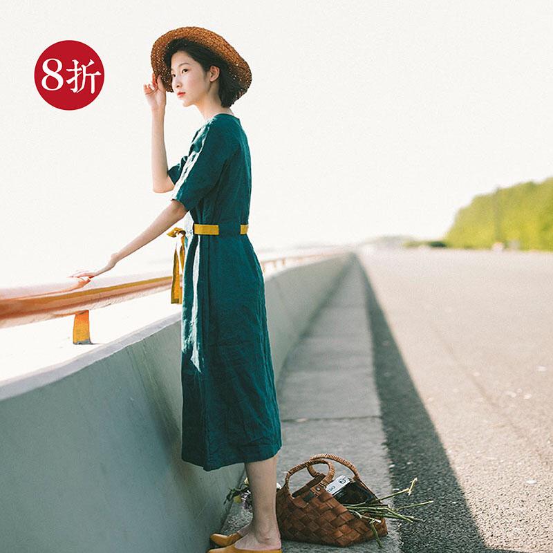 梭家(看海)2018夏季新款短袖亚麻连衣裙宽松文艺范系带绿色长裙